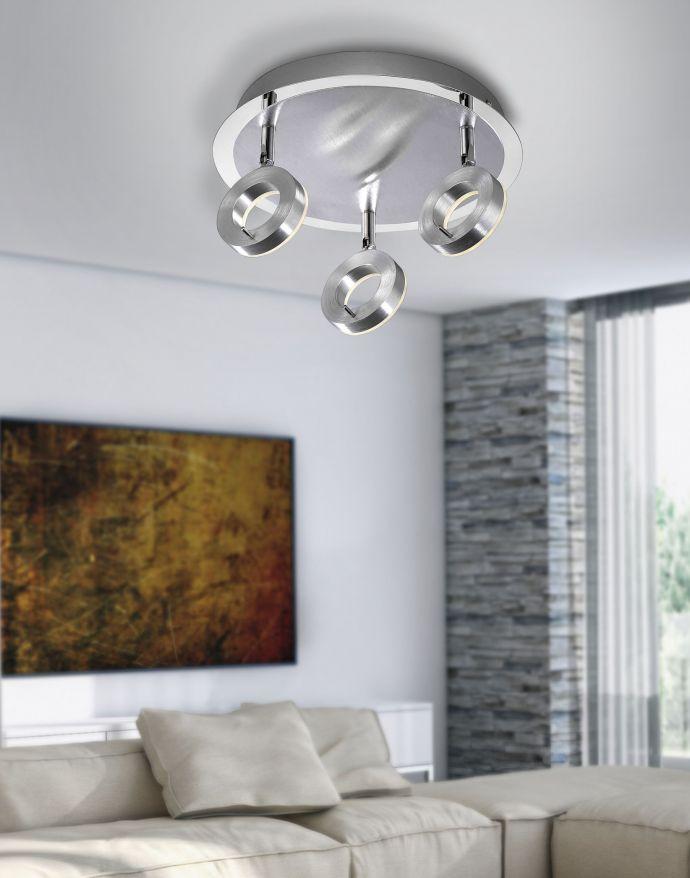LED-Deckenstrahler, aluminium-matt, 3 Leuchtköpfe, warmweiße Lichtfarbe