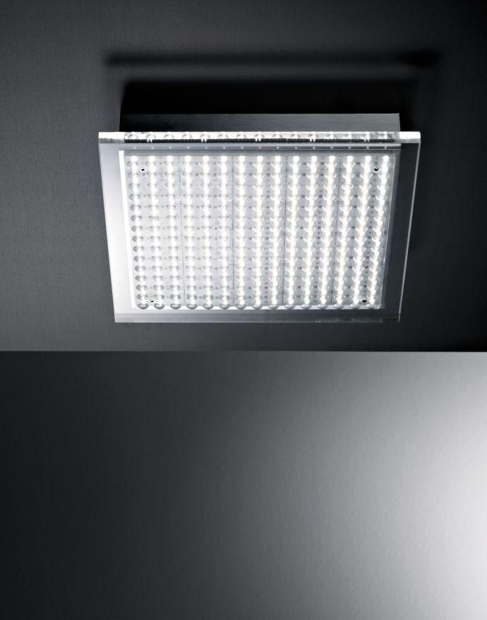 LED Deckenleuchte, stahlfarben, IP44, 26,5x26,5cm, Acrylglas, Design