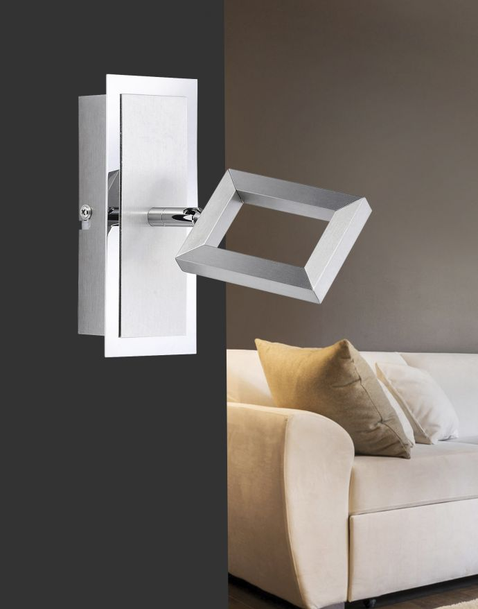 LED-Wandstrahler, stahl, verstellbarer Leuchtkopf, inkl. Kippschalter