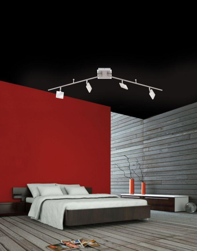 LED Deckenleuchte, nickel-chrom, verstellbar, quadratische Leuchtenspots
