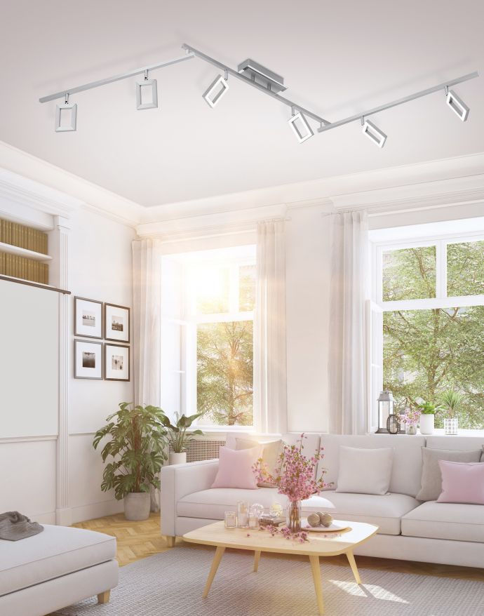 LED Deckenleuchte, 6-flammiger Strahler, Dimmfunktion, verstellbare Spots