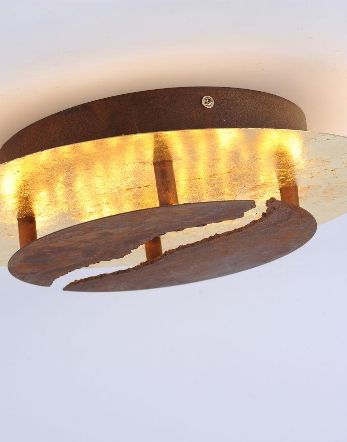 LED-Deckenleuchte, rostfarben, Goldoptik, warmweiße Lichtfarbe, dimmbar