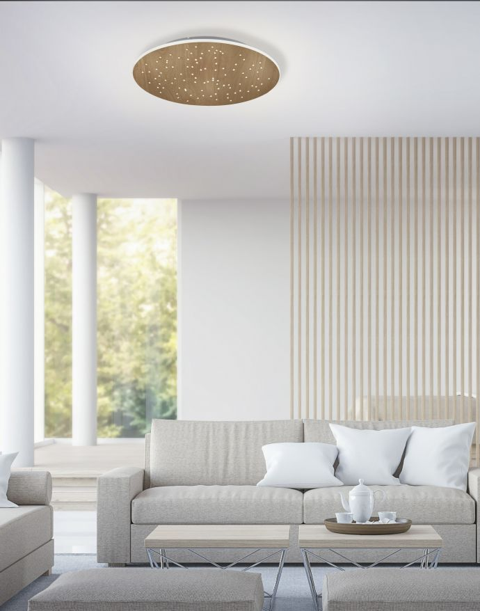 Paul Neuhaus, Q-NIGHTSKY, LED-Deckenleuchte, rund, Ø48,5cm, Holzoptik, Smart Home