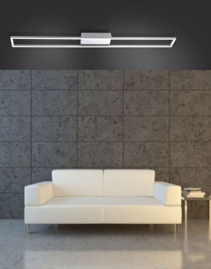 LED-Deckenleuchte, stahlfarben, 10x110cm, dimmbar, modern, warmweiß
