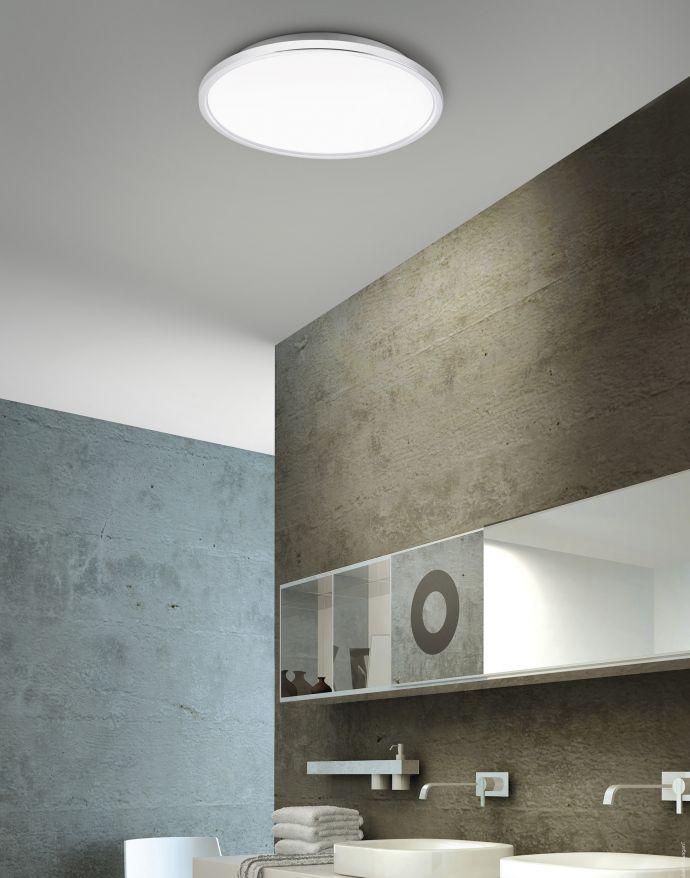 LED Panel, Rahmen chrom, rund,45cm, IP44, Badezimmer Panel