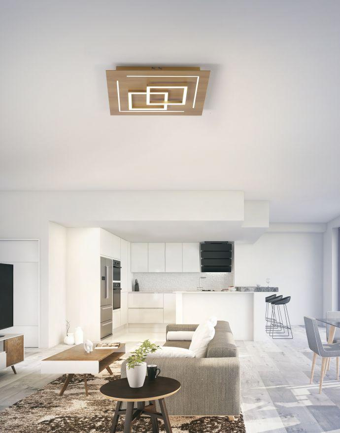 Paul Neuhaus, Q-LINEA, LED-Deckenleuchte, Holzdekor, Fernbedienung, Smart Home