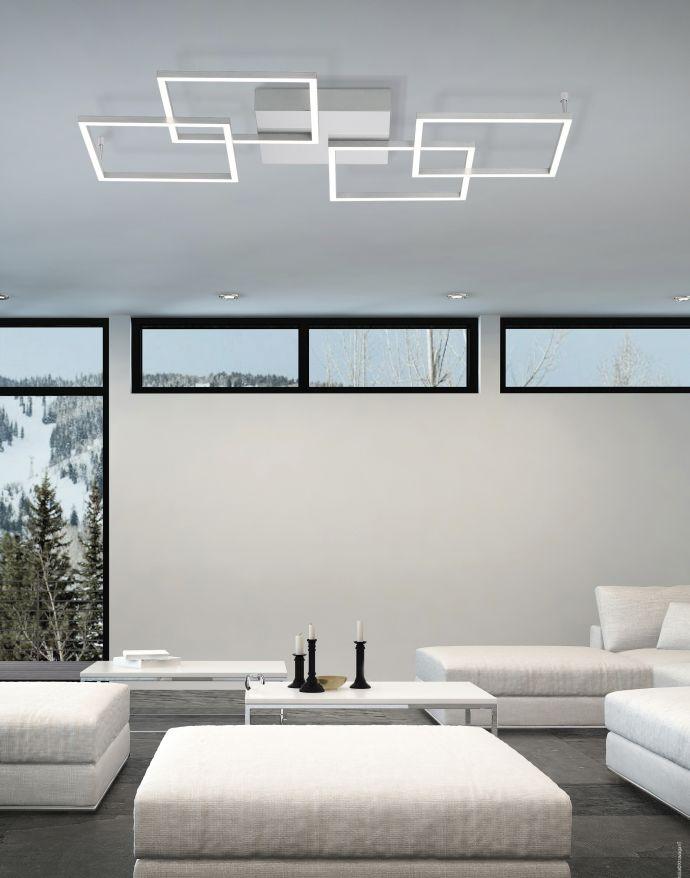 LED-Deckenleuchte, Stahl,  geometrischer Form, warmweiß, dimmbar