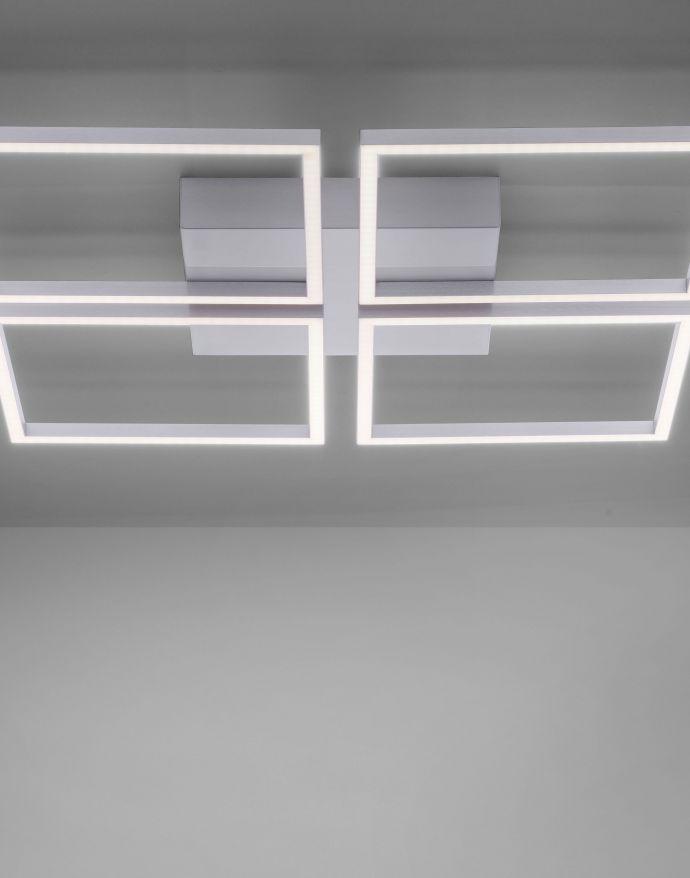 LED-Deckenleuchte, stahl, quadratisch, warmweiße Lichtfarbe, Dimmfunktion