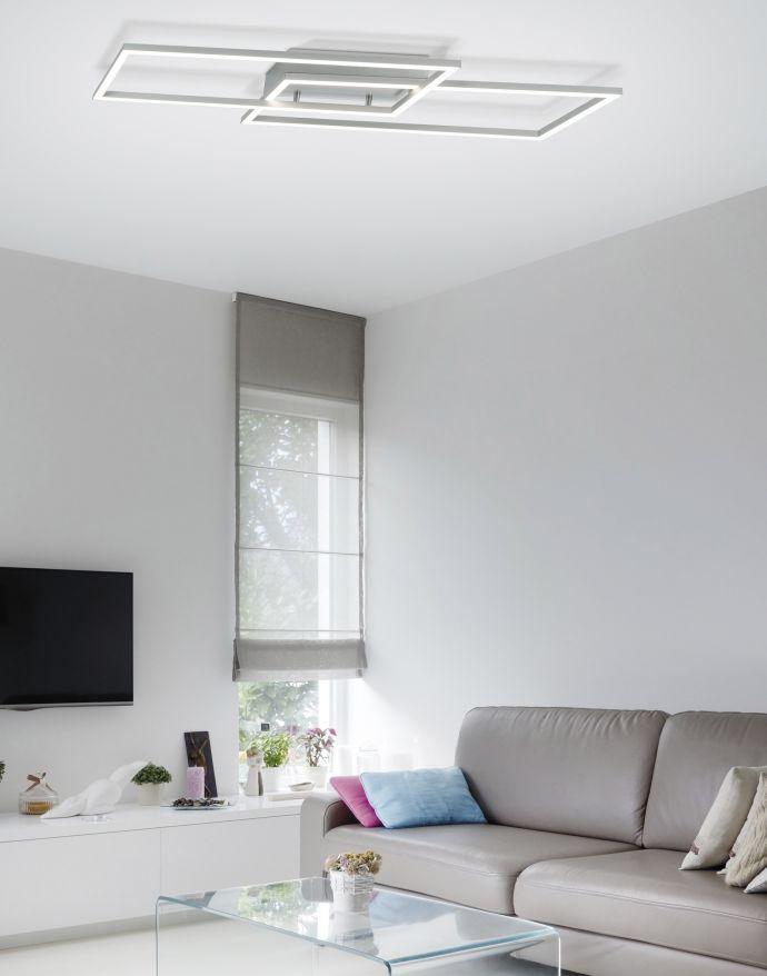 LED Deckenleuchte, stahlfarben, Memory Funktion, inkl Dimmfunktion, modern