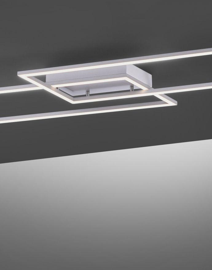 LED Deckenleuchte, stahlfaben, inkl. Dimmfunktion, Memory Funktion, modern