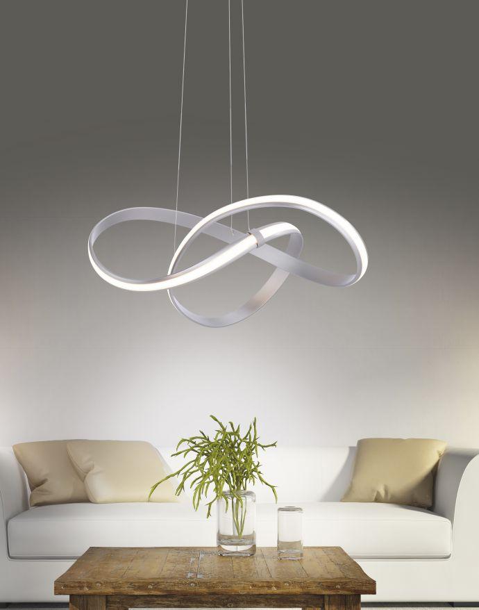 LED Design Pendelleuchte, geschwungene Form, stahlfarben, dimmbar, modern