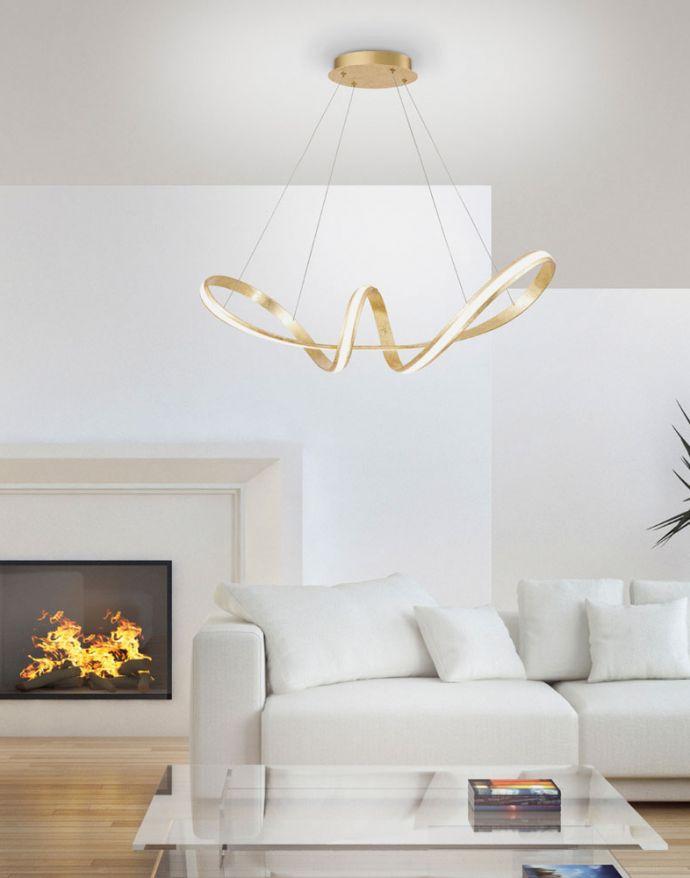 LED Pendelleuchte, gold, elegant, geschwungen, warmweißes Licht, Blattgold