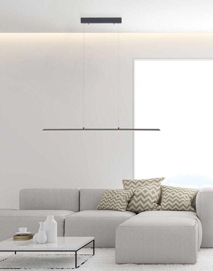 PURE-LITE, LED-Pendelleuchte, anthrazit, gebürstet, Farbtemperatursteuerung