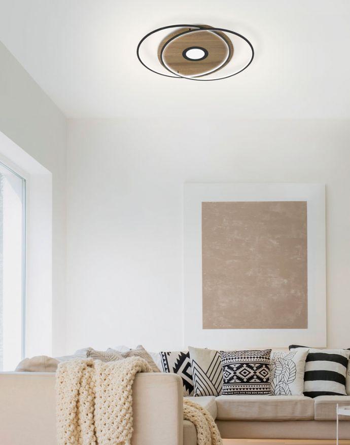 Q-AMIRA, LED-Deckenleuchte, Holzdekor, Stahl, CCT, dimmbar, Smart Home