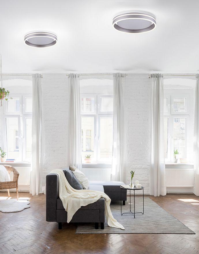 Paul Neuhaus, Q-VITO, LED-Deckenleuchte, Ø 40cm, stahlfarben, rund, Smart Home
