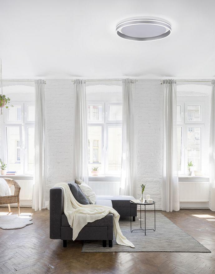 Paul Neuhaus, Q-VITO, LED-Deckenleuchte, Ø 59cm, stahlfarben, Smart Home