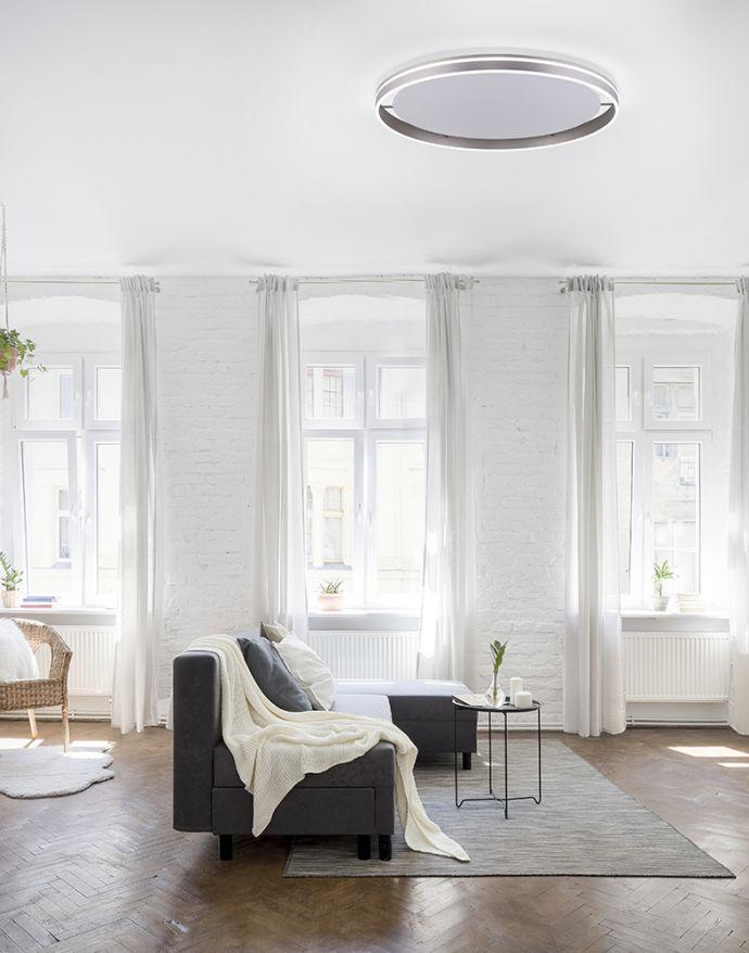 Paul Neuhaus, Q-VITO, LED-Deckenlampe, Ø 79cm, stahlfarben, rund, Smart Home