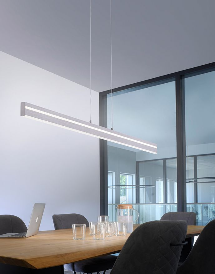 Paul Neuhaus, Q-VITO, LED-Pendelleuchte, CCT, silber, filigran, Smart Home