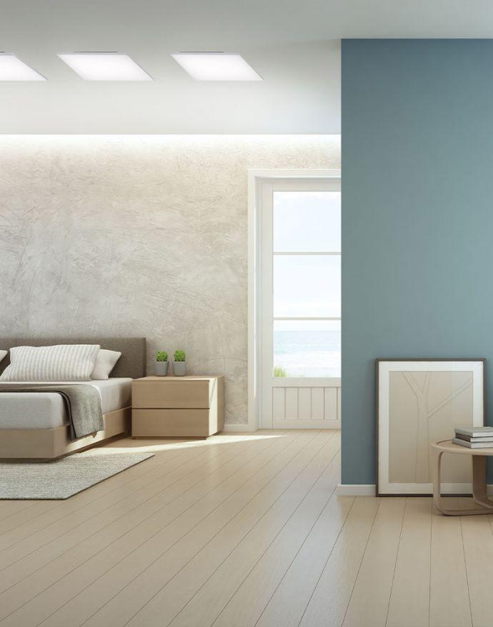 LED-Panel, weiß, rahmenlos, 62x62cm, CCT, dimmbar, Fernbedienung, blendfrei