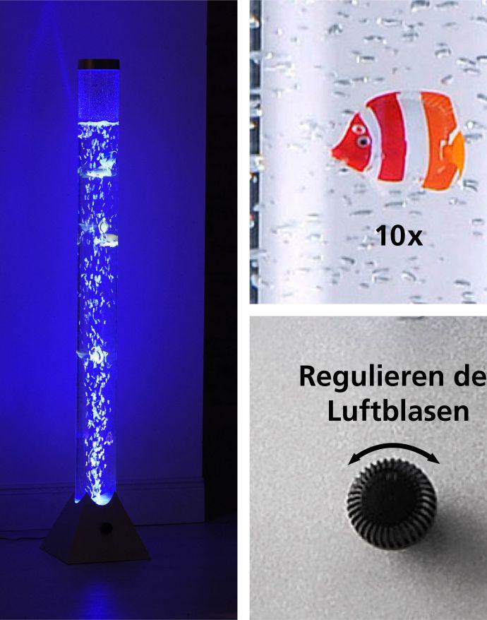 LED-Wassersäule, RGB, Farbwechsel, bunte Fische, modern,