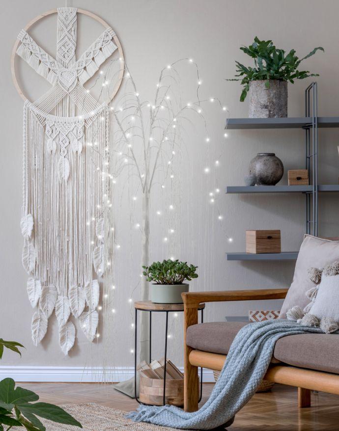 LED-Baum, weiß, Weidenoptik, spritzwassergeschützt, modern, warmweiß