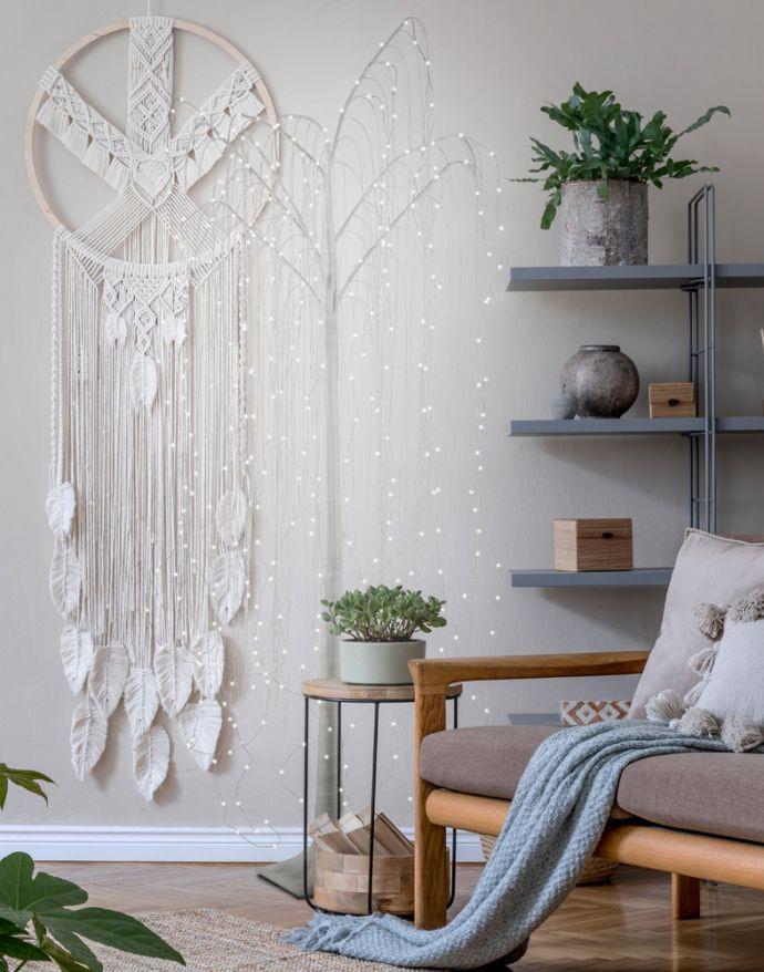 LED Baum, weiß, Weidenoptik, warmweißes Licht, spritzwassergeschützt