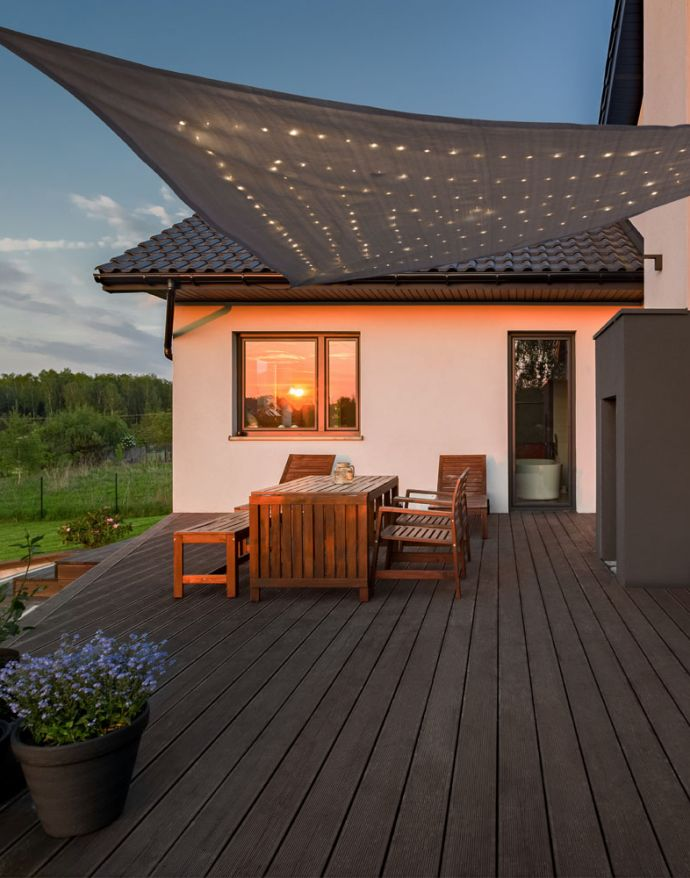 LED Sonnensegel, grau, spritzwassergeschützt, solarbetrieben, modern