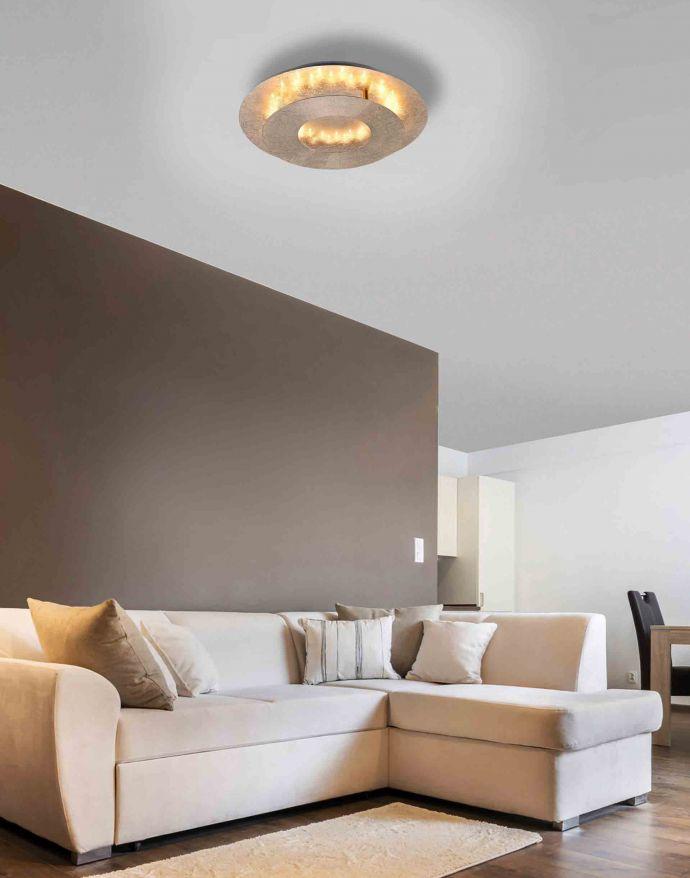 LED-Deckenleuchte, Blattgoldoptik, drehbarer Leuchtring, indirektes Licht