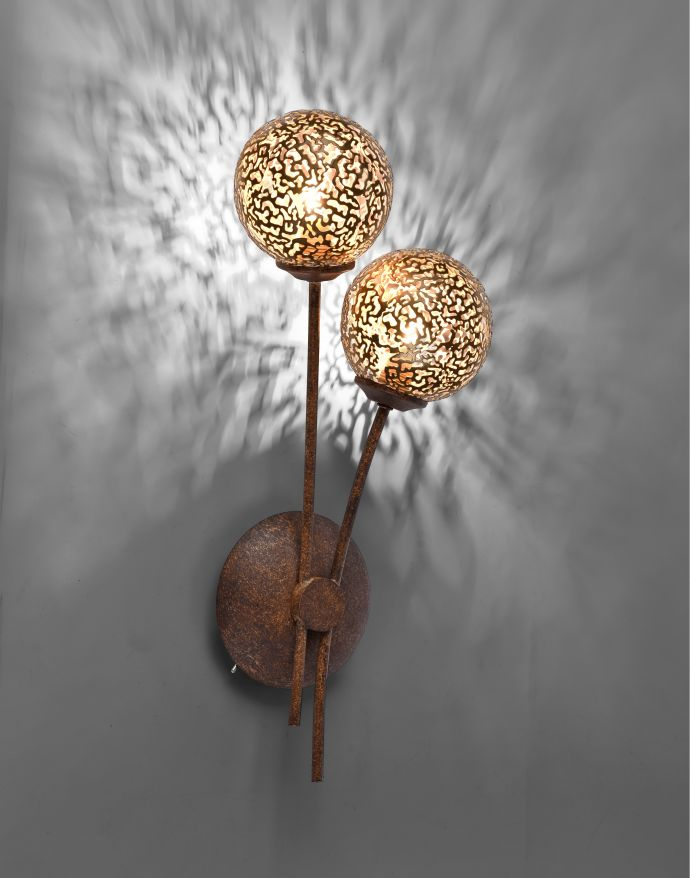 Wandleuchte, braun-gold, Landhaus-Stil, 2 Spots, lichtdurchlässiges Muster