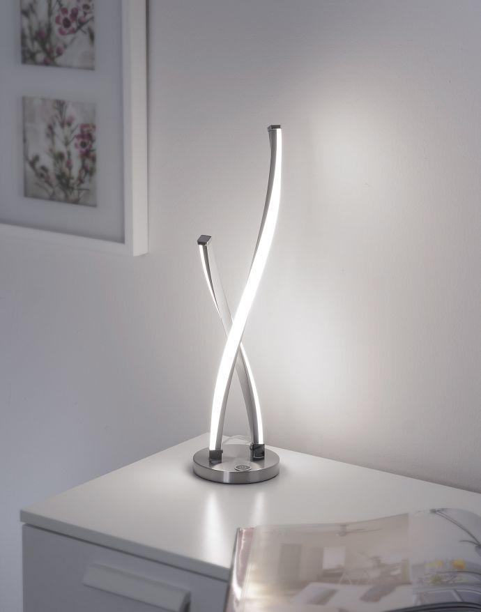 LED Tischleuchte, stahlfarben, geschwungenes Design, dimmbar