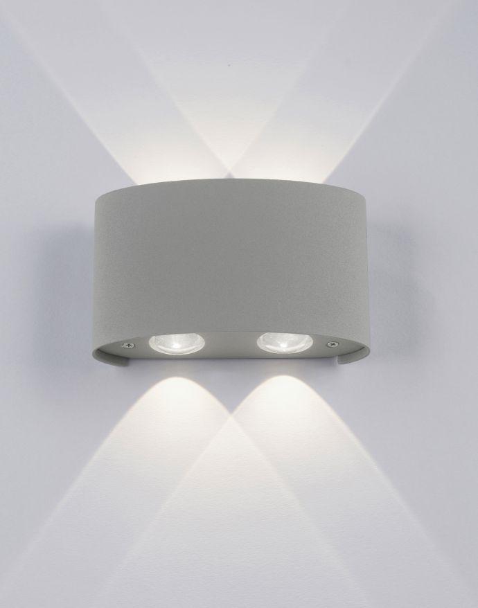 LED-Wandleuchte, Außenleuchte, silber, halbrund, 4flg, warmweiß, Up+Down, IP54