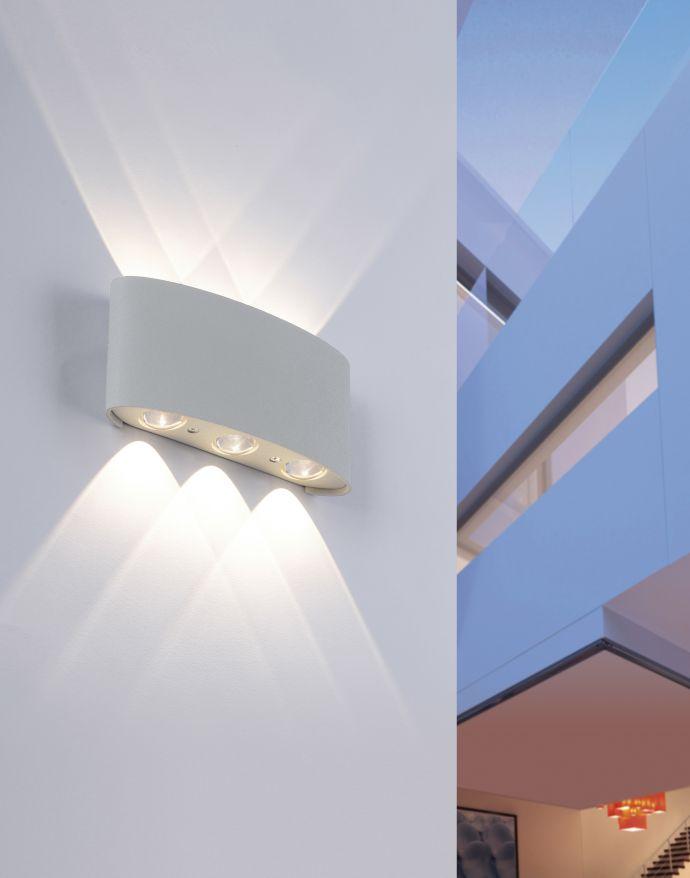 LED-Wandleuchte, silberfarben, halbrund, 6-flammig, warmweiße Lichtfarbe