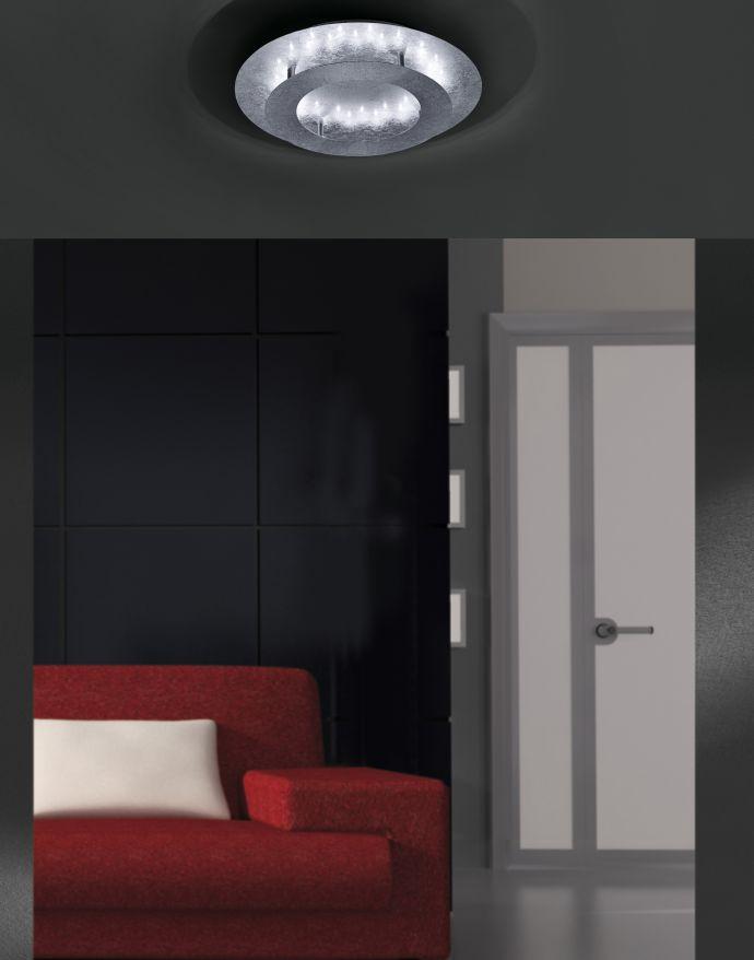 LED-Deckenleuchte, Wandleuchte, Blattsilber-Optik, Ø 40cm, indrekt,