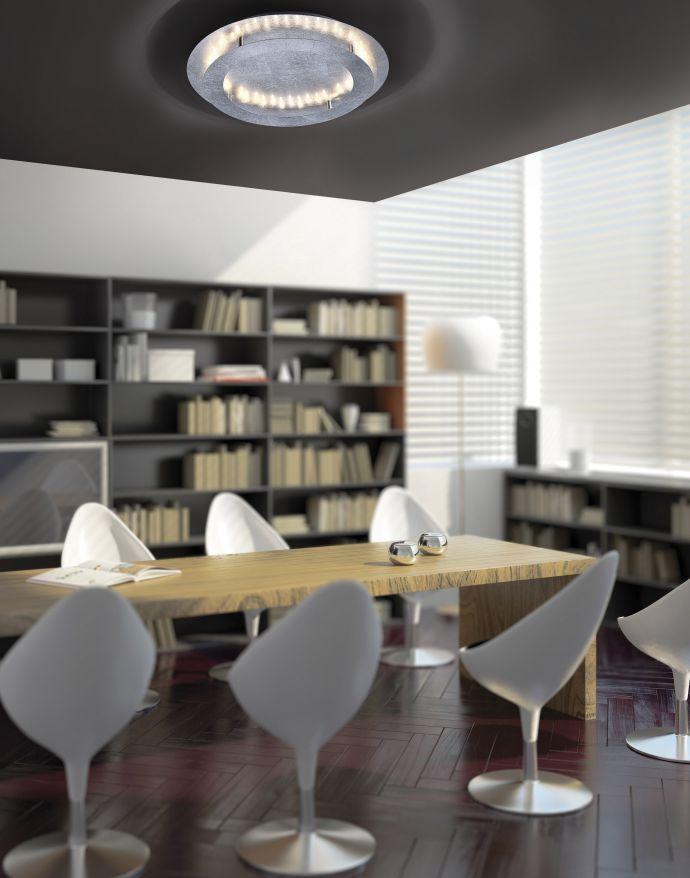 LED Deckenleuchte, rund, Blattsilber, indirekte Beleuchtung, warmweiß