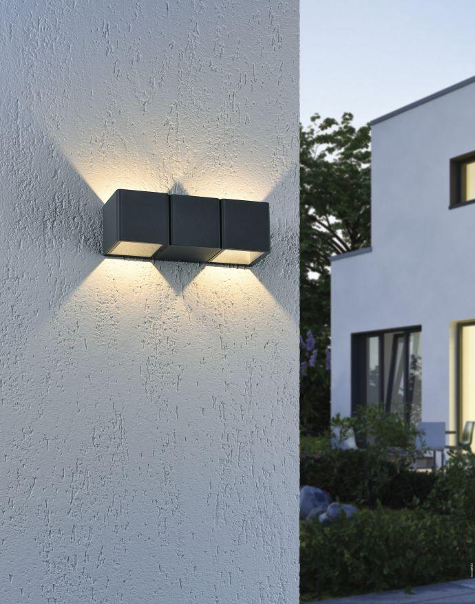 LED-Außenwandleuchte, anthrazit, warmweiß, spritzwassergeschützt, modern