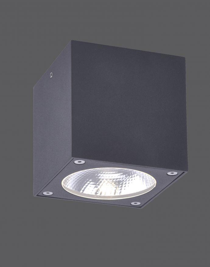 LED-Außenaufbaustrahler, anthrazit, Cube, spritzwassergeschützt,