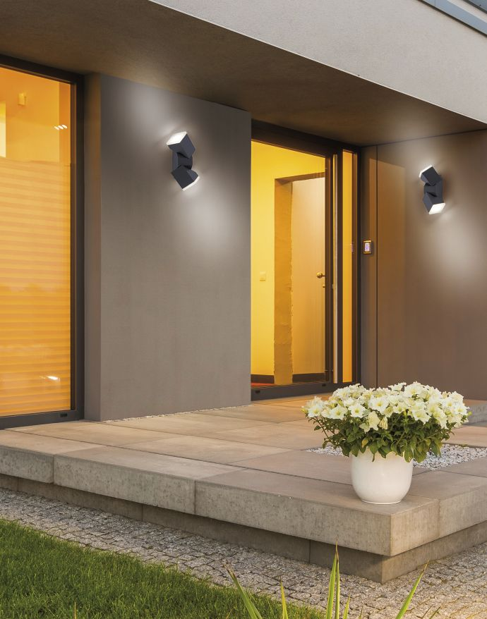 LED-Außenwandleuchte, anthrazit, warmweißes Licht, spritzwassergeschützt