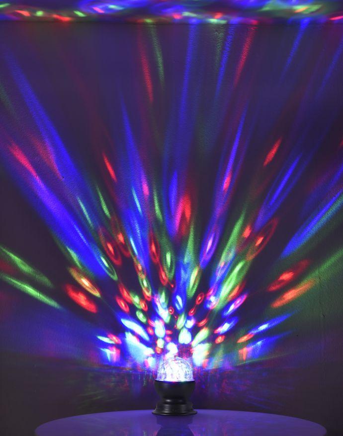 LED-Tischleuchte, schwarz, rotierende Kugel, Disco-Effekt, RGB Farben