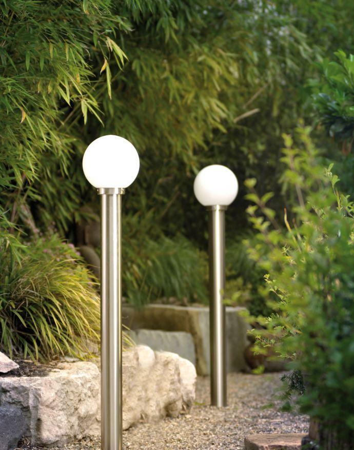 Außenleuchte, Wegeleuchte, Edelstahl, Opalglas, 110cm Klassiker