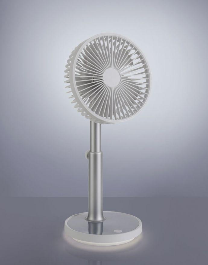 Tischventilator mit Licht, akkubetrieben, warmweiß, Höhenverstellbar, Geschwindigkeit einstellbar