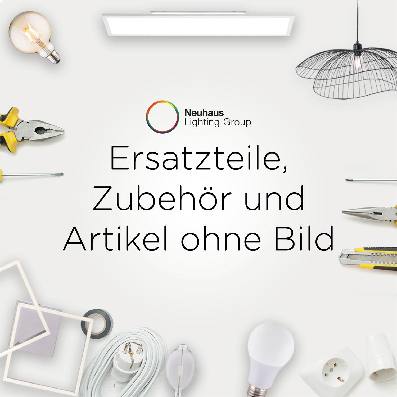 LED-Deckenleuchte, stahlfarben, oval, 7-flammig, satiniertes Glas, schwenkbar