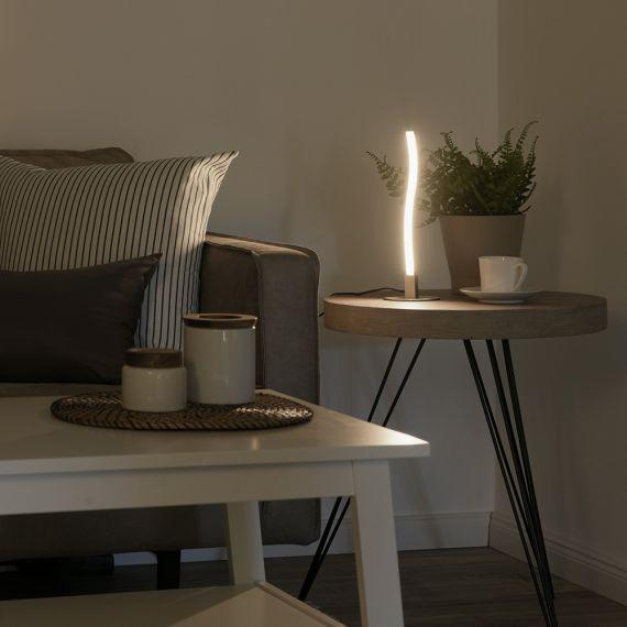 LED-Tischleuchte, stahlfarben, Wellenform, modern, inkl. Schnurschalter